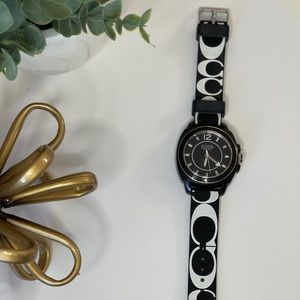 COACH -  black & white silicon band watch